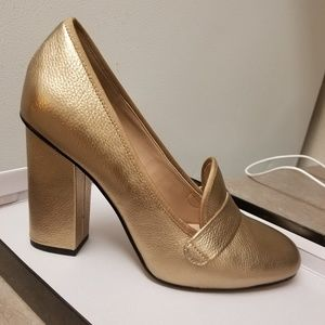 Aldo faux leather block heel in gold.